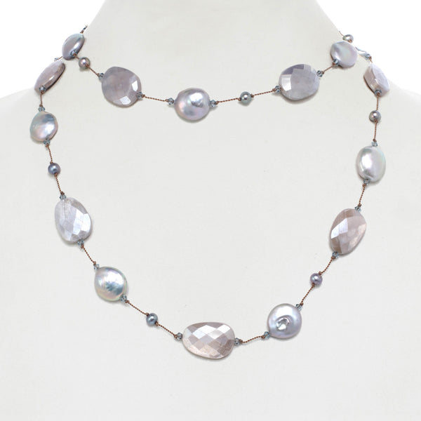 Coated Grey Moonstone and Freshwater Cultured Pearl Necklace, 35 Inches