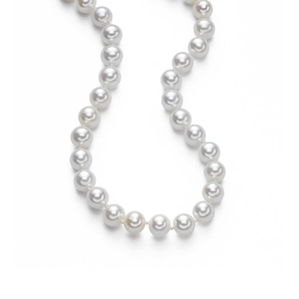 Akoya Cultured Pearl  Necklace, 6 x 5.5 mm, 14K White Gold