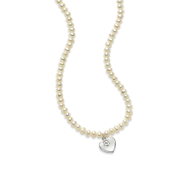 Girl's Cultured Pearl Necklace with Heart Charm, Sterling Silver