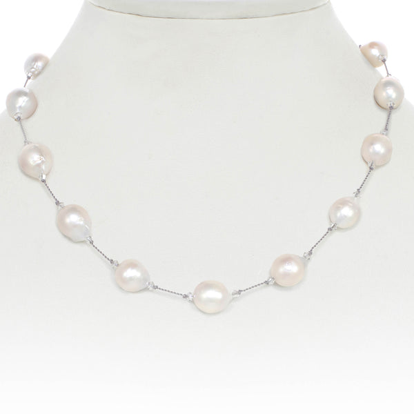 White Baroque Freshwater Cultured Pearl Necklace, 17 Inches, Sterling Silver