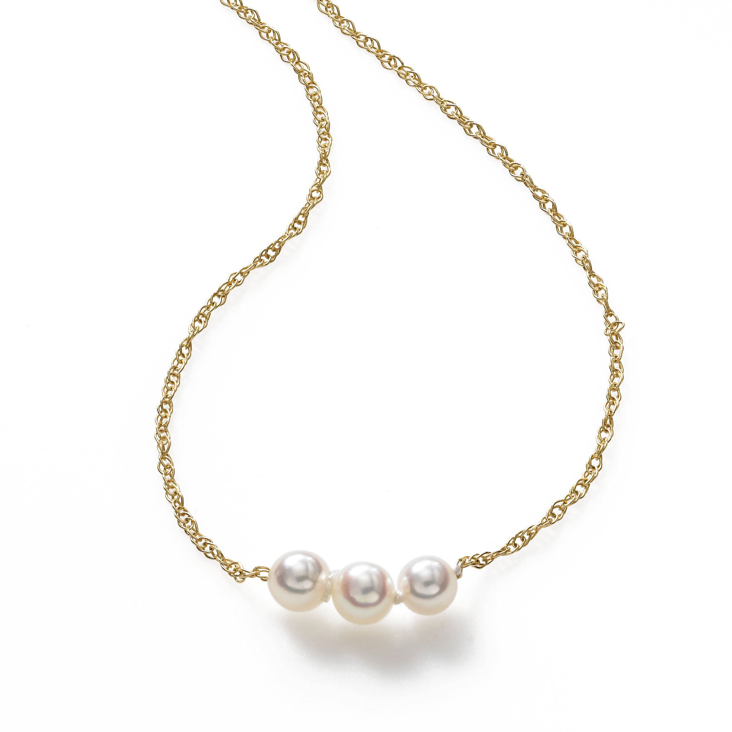 Pearl By Pearl Starter Necklace, 3 Akoya 4MM Pearls, 16 inch Length, 14K Yellow Gold