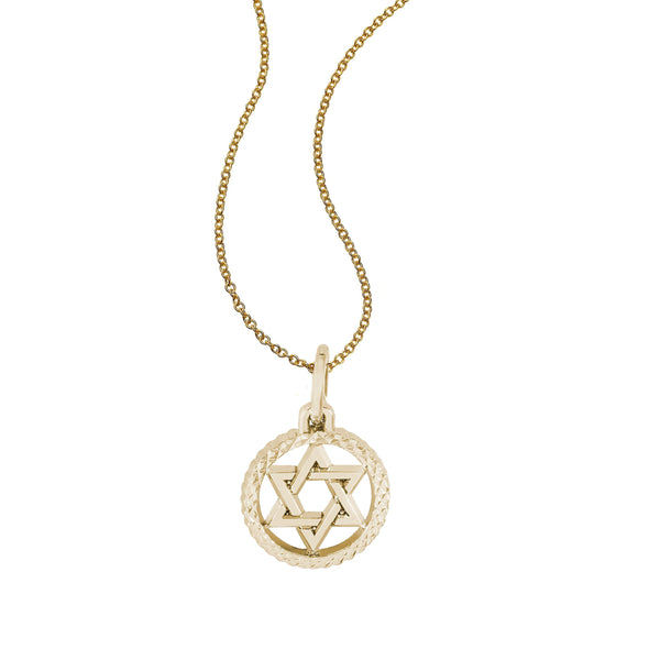 Star of David in Diamond Cut Frame, 14K Yellow Gold