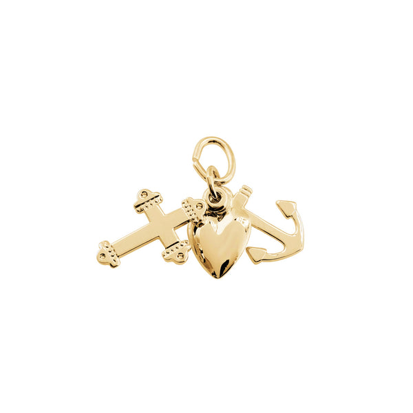 Faith, Hope and Charity Charms, 14K Yellow Gold
