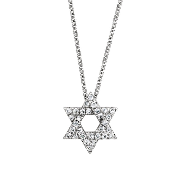 Diamond Star of David Pendant, .15 Carat, 14K White Gold