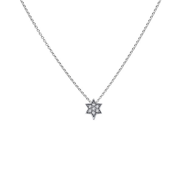 Teeny Diamond Star of David Pendant, 14K White Gold