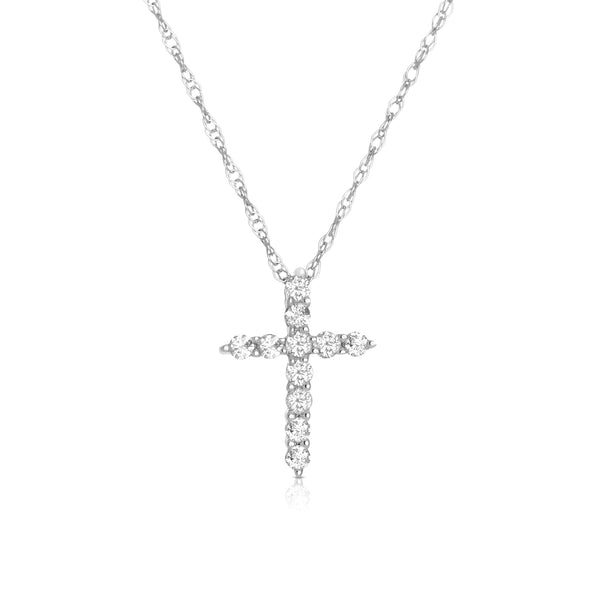 Shared Prong Diamond Cross, .23 Carat, 14K White Gold