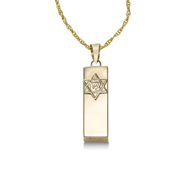 Mezuzah Pendant, 14K Yellow Gold
