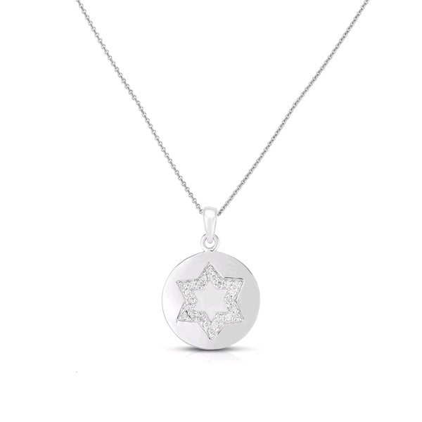 Diamond Star of David in Disc Pendant, 14K White Gold