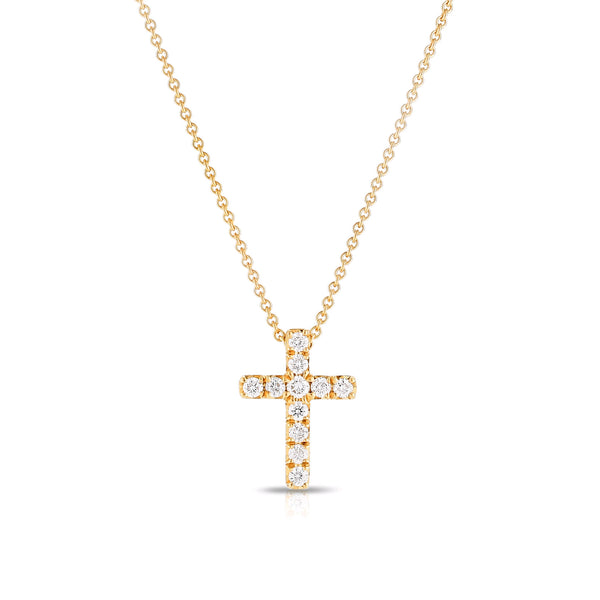 Classic Diamond Cross Pendant, .09 Carat, 14K Yellow Gold