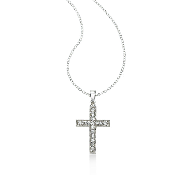 Classic Diamond Cross Pendant, .16 Carat, 14K White Gold