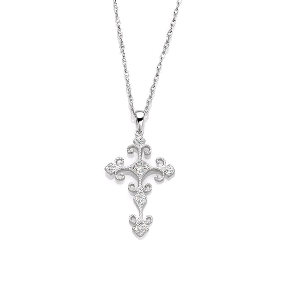 Filigree Design Diamond Cross, 14K White Gold