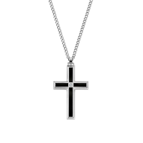 Black Enamel Cross, Tailored Design with Diamond Accent, Stainless Steel