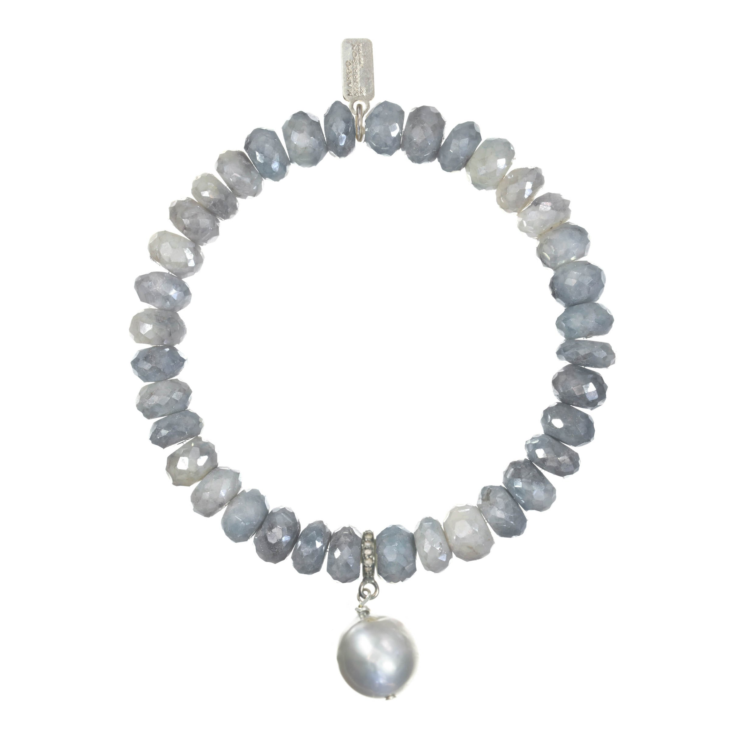 Blue/Grey Silverite and Grey Cultured Baroque Pearl Stretch Bracelet