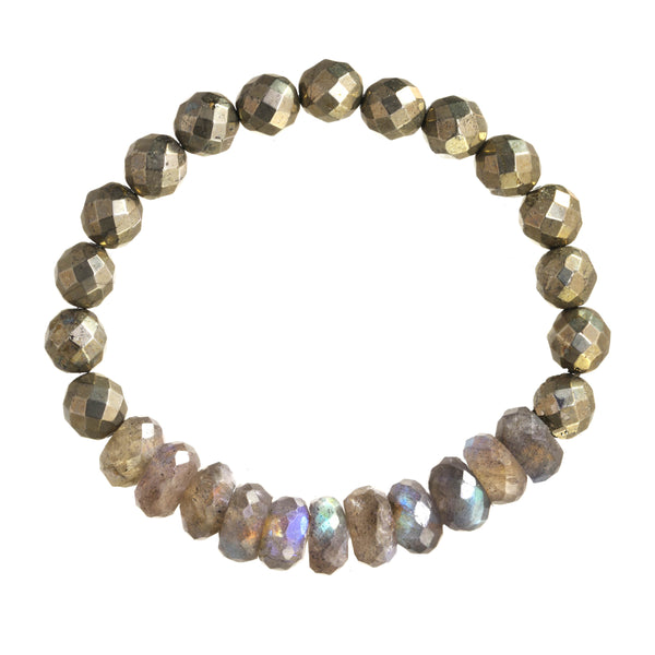 Faceted Labradorite and Faceted Pyrite Stretch Bracelet