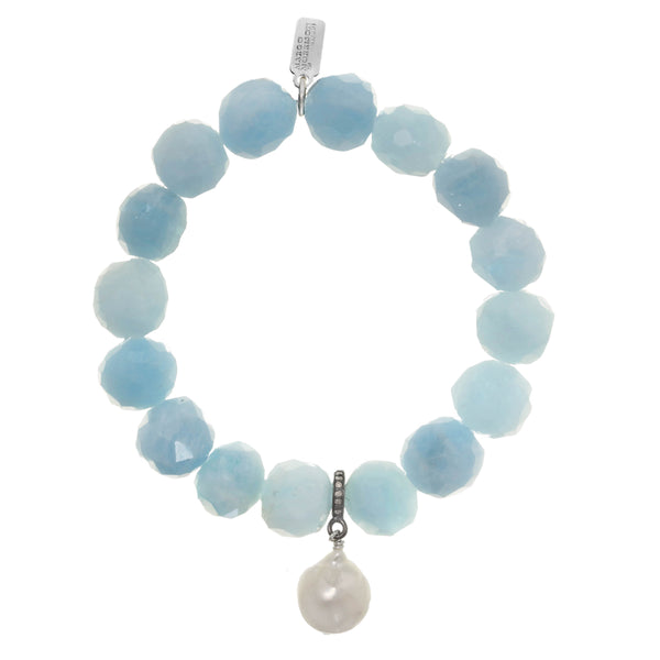 Aquamarine and White Baroque Cultured Pearl Stretch Bracelet