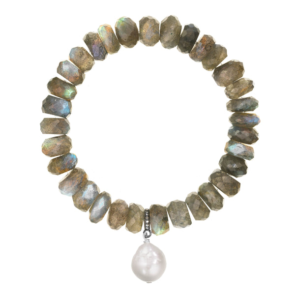 Labradorite and White Baroque Cultured Pearl Stretch Bracelet