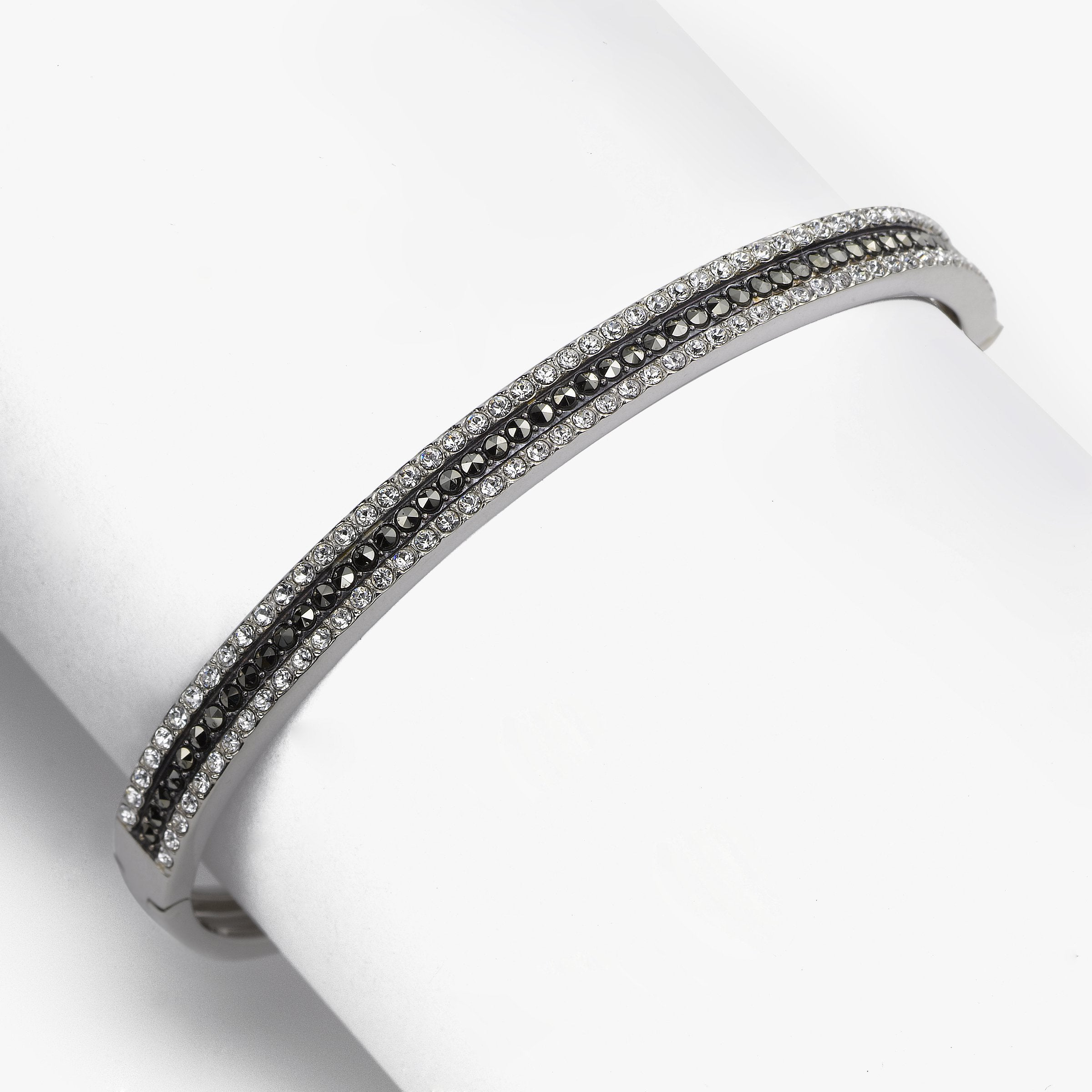Crystal and Marcasite Bangle, Sterling Silver, 6 MM Wide