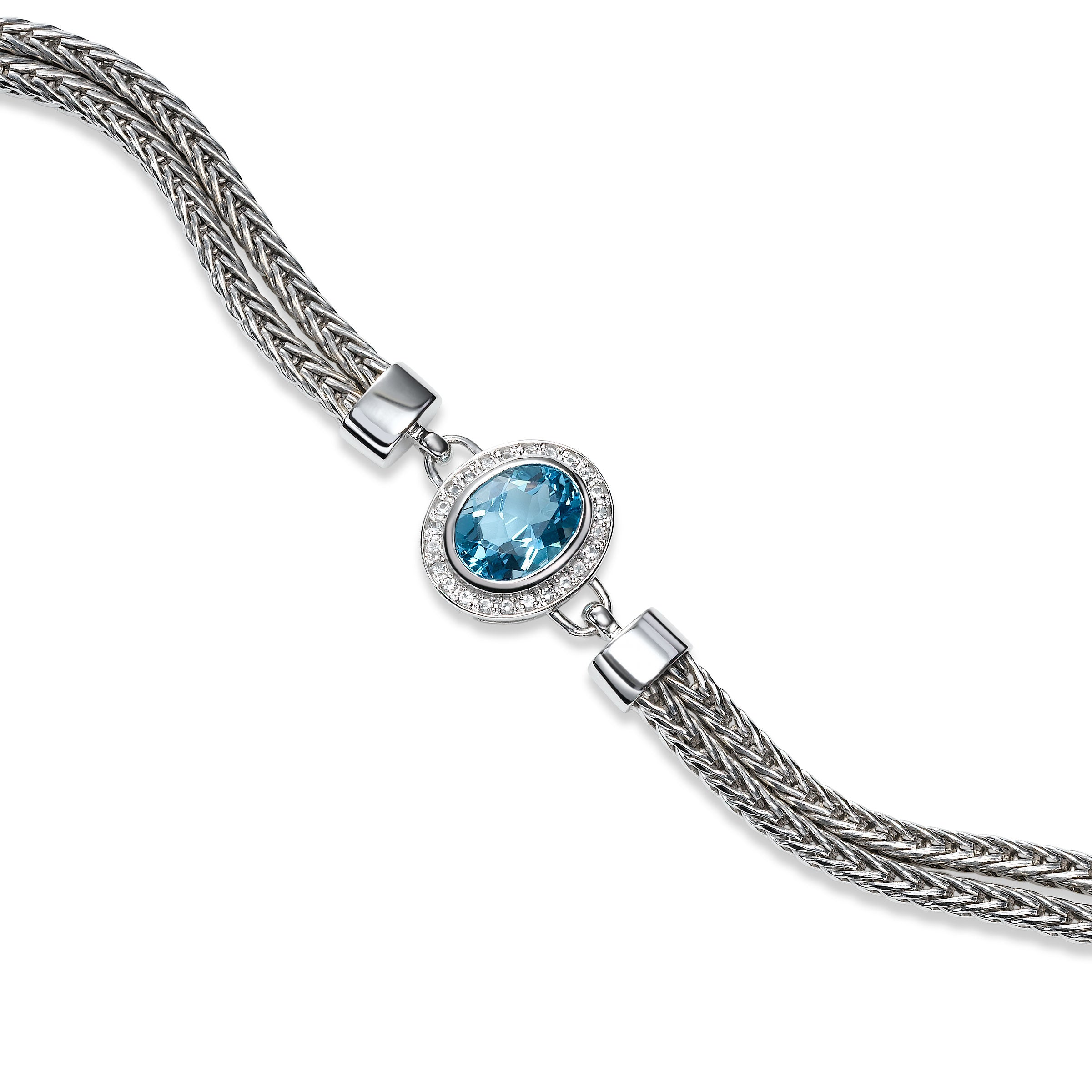 Double Strand Bracelet with Blue Topaz Center, Sterling Silver
