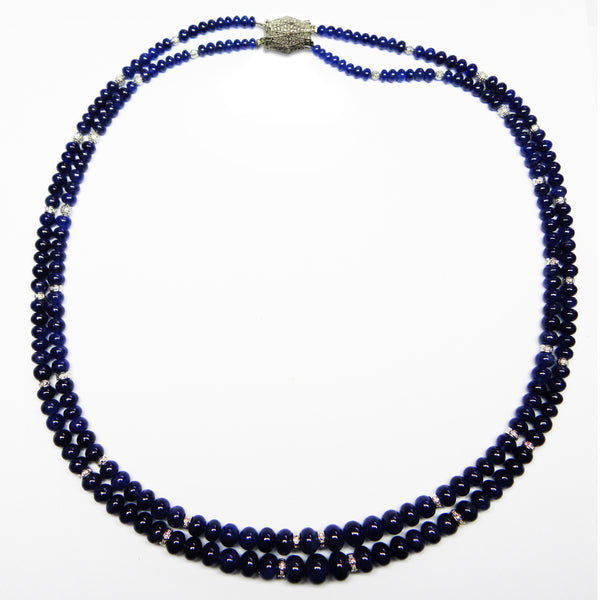 Two Strand Graduating Sapphire Bead Necklace, 18K White Gold