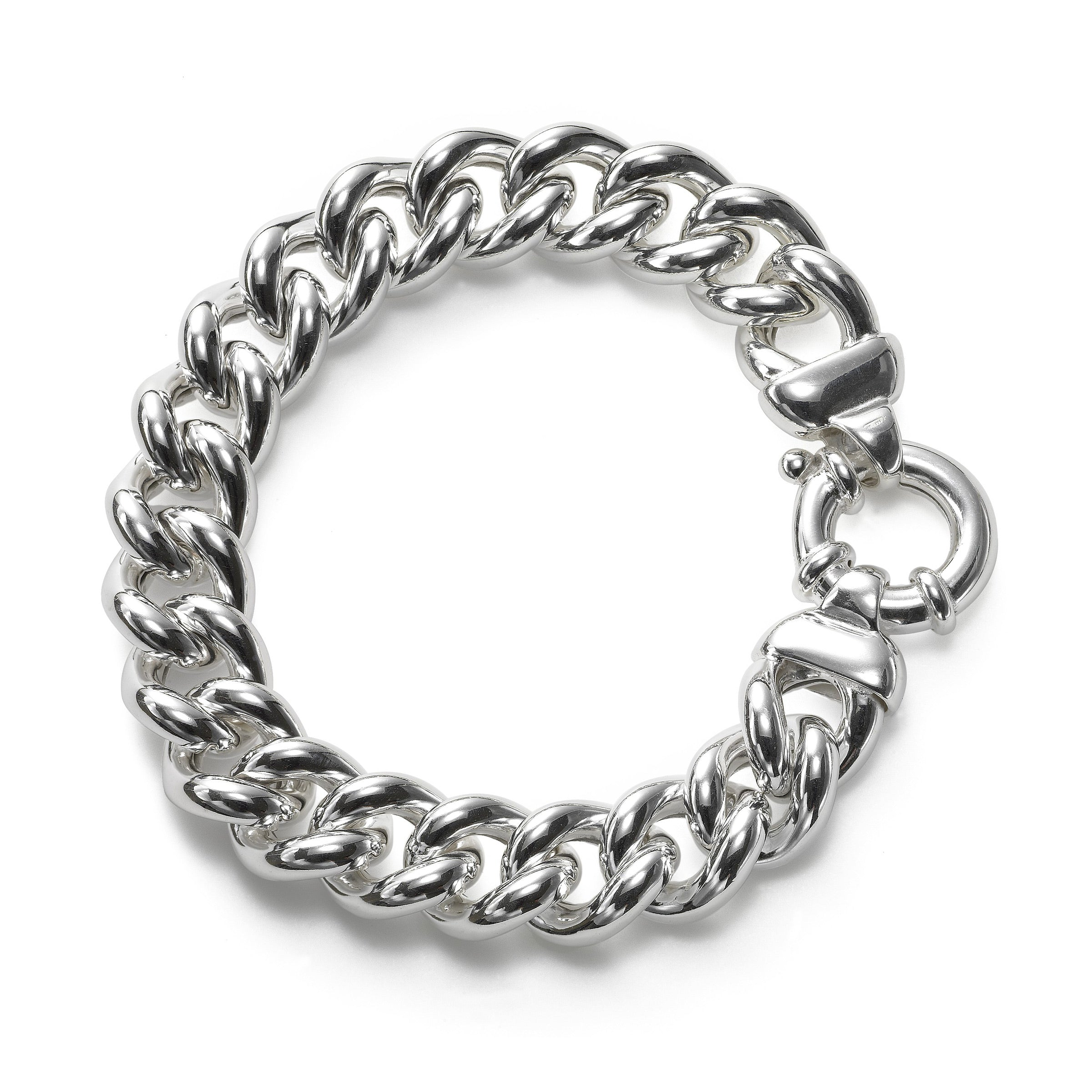 Shiny and Bold Link Bracelet, Sterling Silver