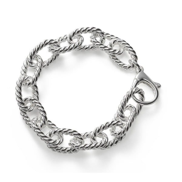 Twist Rope Link Bracelet, 8 Inches, Sterling Silver