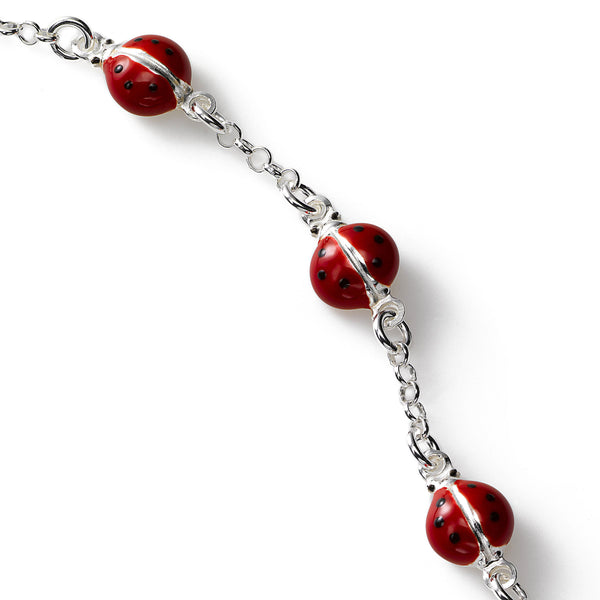 Child's Ladybug Bracelet, Sterling Silver, 5.50 inches
