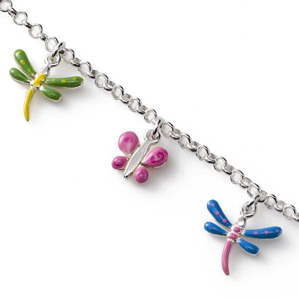 Butterfly and Dragonfly Bracelet, Sterling Silver, 5.50