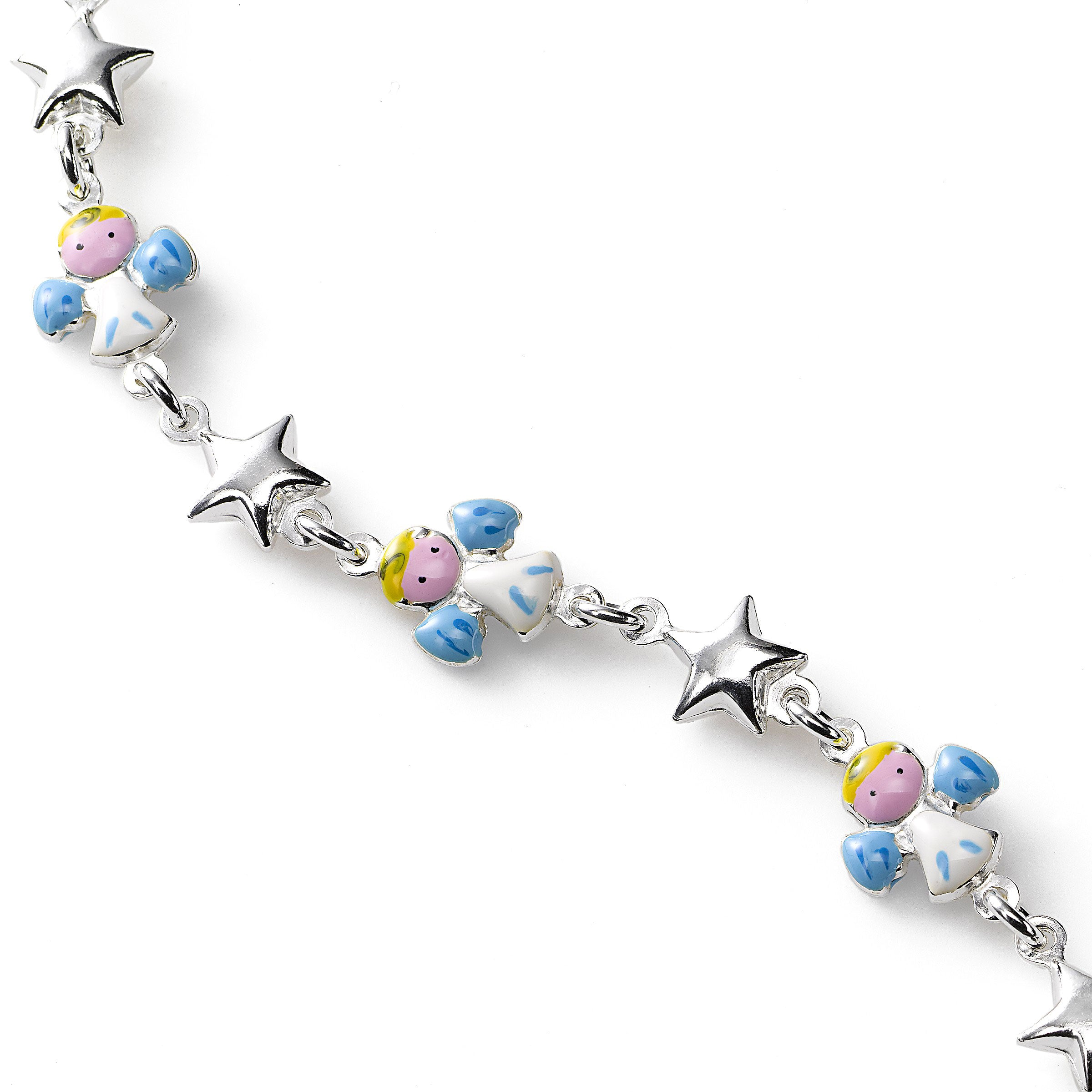 Stars and Enamel Angels Bracelet, Sterling Silver