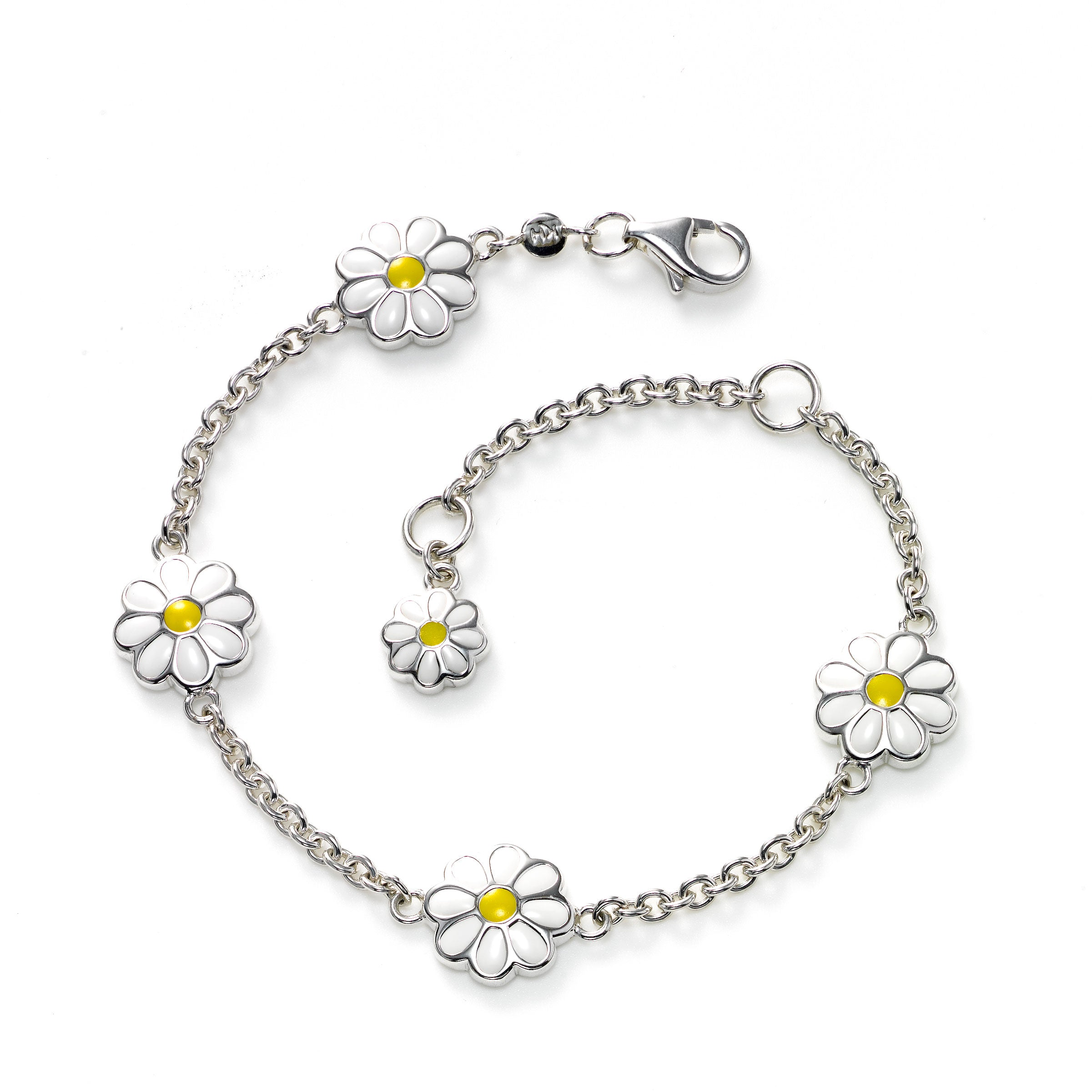 Kid's Daisy Chain Bracelet, Sterling Silver, 6.00 inches