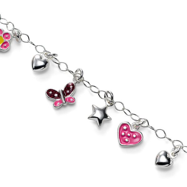 Hearts, Stars, Butterfly and Flower Bracelet, Sterling Silver, 6.00 inches
