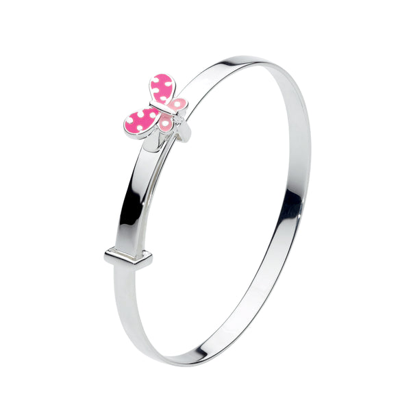 Children's Bangle Bracelet with Enamel Butterfly, Sterling Silver