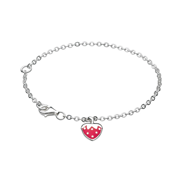 Girl's Bracelet with Enamel Strawberry Charm, Sterling Silver