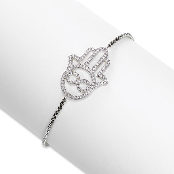 CZ Hand of God Adjustable Bracelet, Sterling Silver