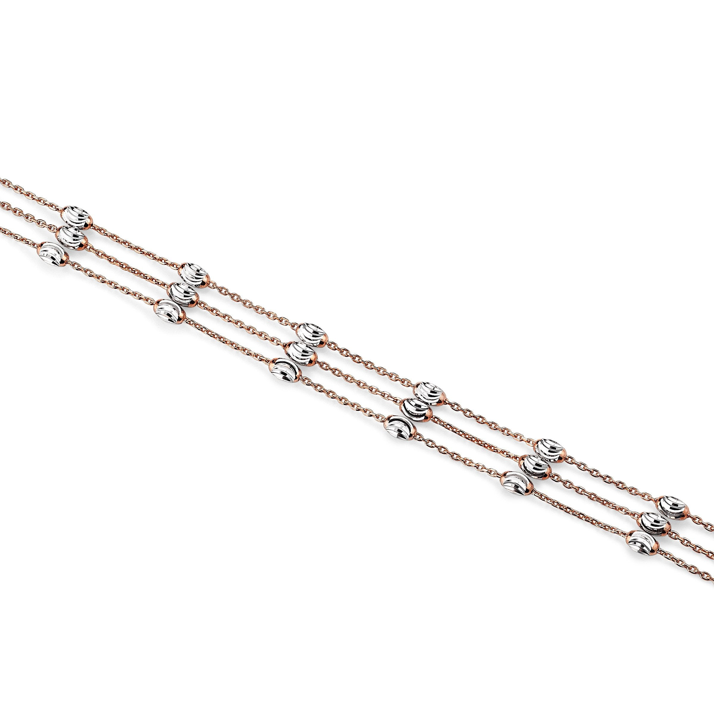 Three Strand Bead Bracelet, Sterling with 18K Rose Gold Plating