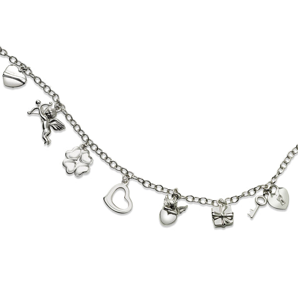Lucky and Love Charms Bracelet, Sterling Silver