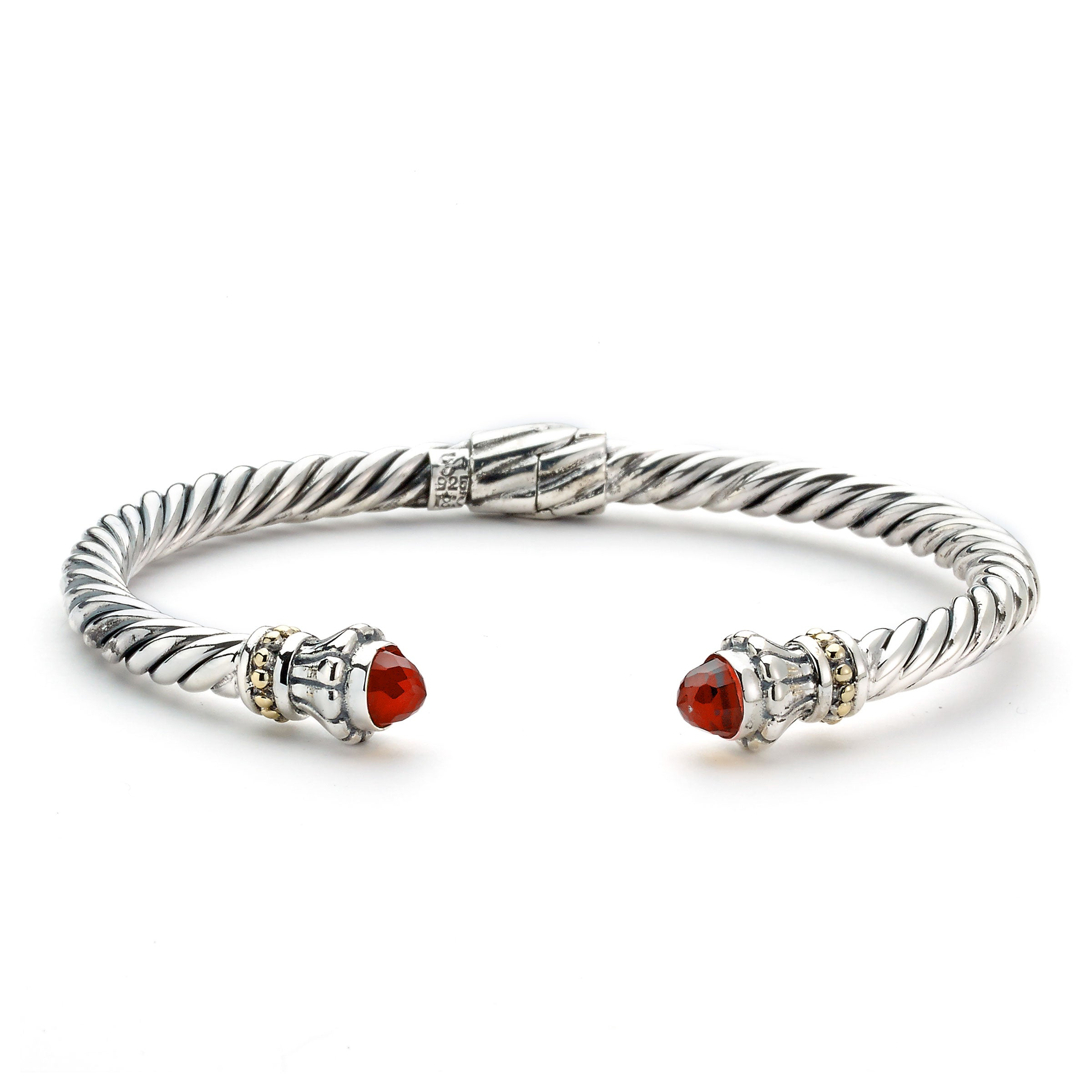 Rope Design Cuff with Garnet Ends, Sterling Silver