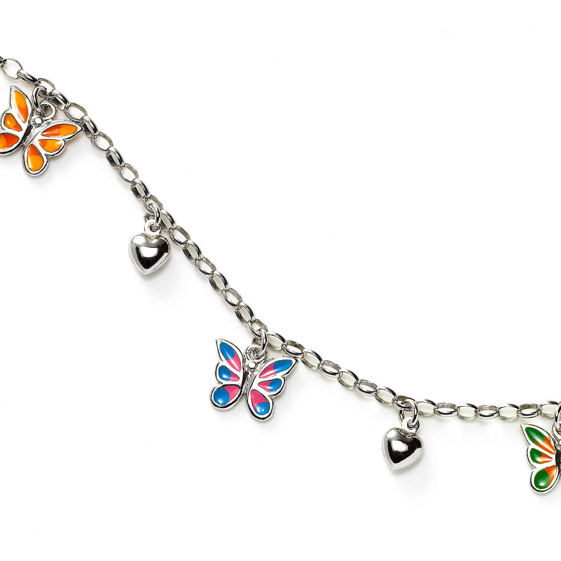 Butterfly and Heart Charm Bracelet, Sterling Silver
