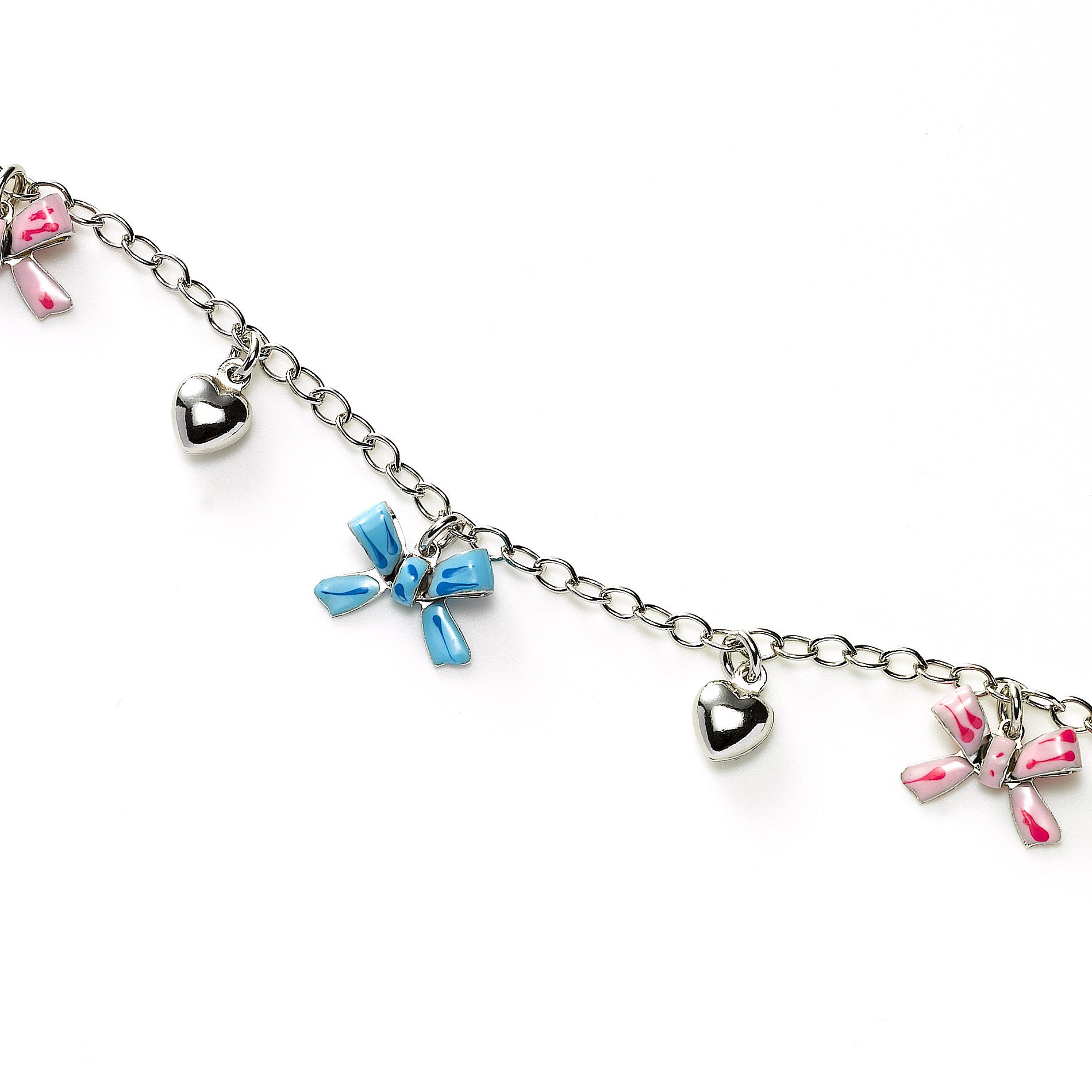Bows and Hearts Charm Bracelet, Sterling Silver
