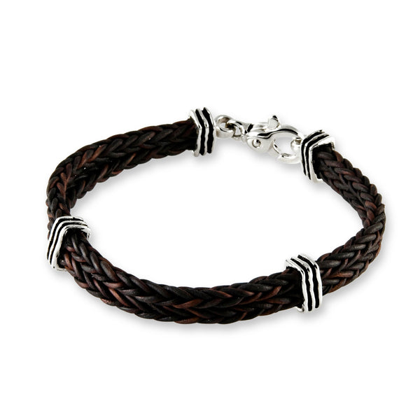 Double Braid Leather Bracelet, Sterling Silver