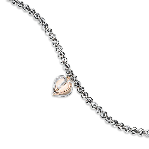 Two Tone Heart Charm Bead Bracelet, Sterling with 18K Rose Gold Plating