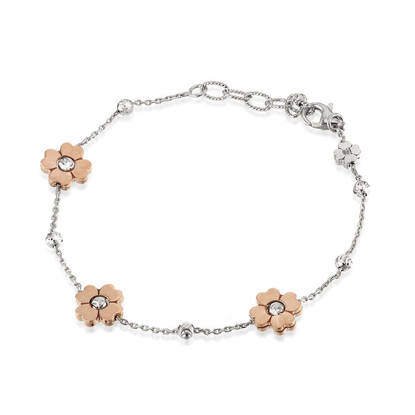 Rose Color Flower Bracelet, Sterling with 18K Rose Gold Plating