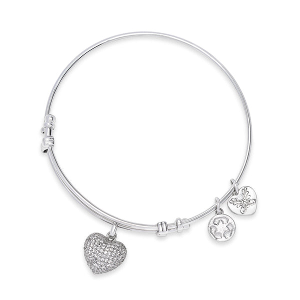 Multiple Charm Bangle Bracelet, Silvertone