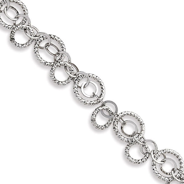 Diamond Cut Interlocking Links Bracelet, Sterling Silver