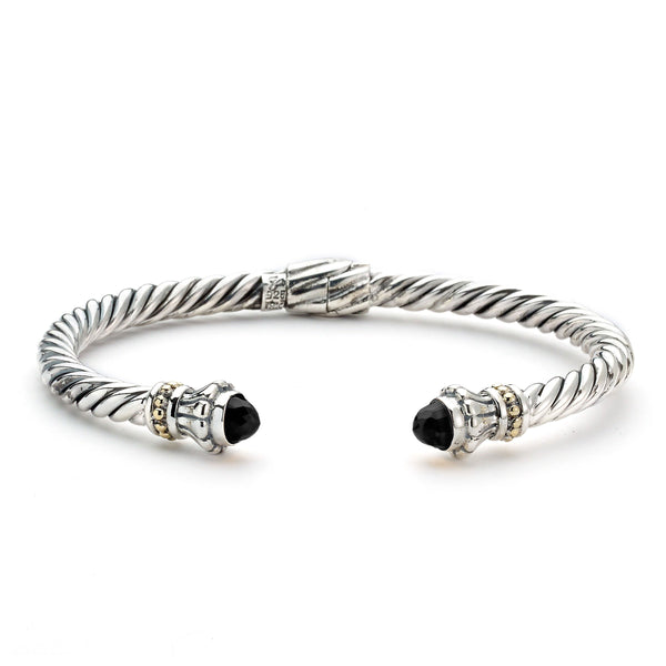 Rope Design Cuff with Black Onyx Ends, Sterling Silver
