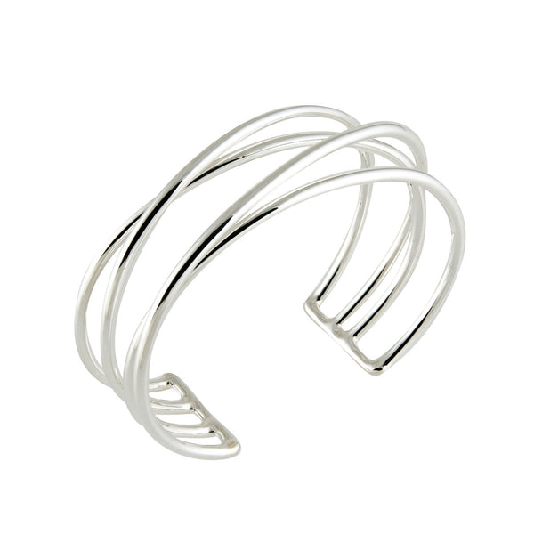 Thin Four Wire Cuff Bracelet, Sterling Silver