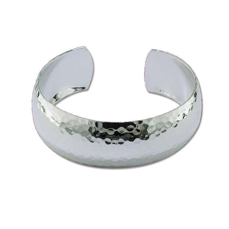 Wide Hammered Cuff Bracelet, Sterling Silver