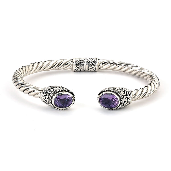 Hinged Cuff with Amethyst Ends, Sterling Silver