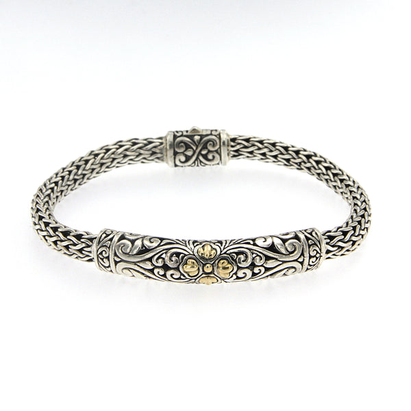 Balinese Design Woven Bracelet, 8 inches, Sterling Silver
