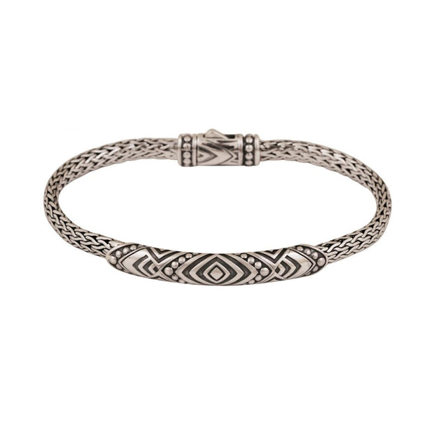 Geometric Design Woven Bracelet, 7.75 inches, Sterling Silver