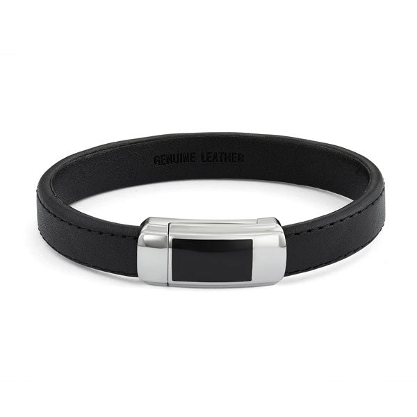 Black Leather Men's Bracelet with Magnetic Clasp, 8.50 Inches